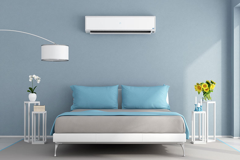air conditioning unit mounted in bedroom