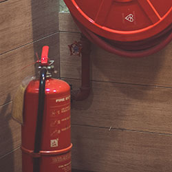 fire extinguisher and hose