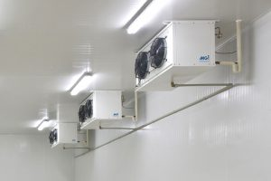 3 refrigeration units on the wall