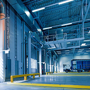 warehouse with roller shutters