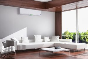 air conditioning unit in lounge with white sofa