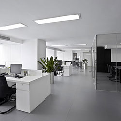 open style office with ducted air conditioning unit