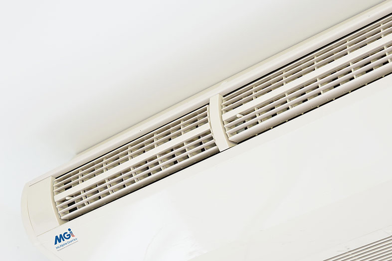 air conditioning unit mounted under the ceiling