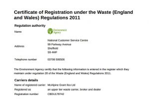 certificate of registration under the waste regulations 2011
