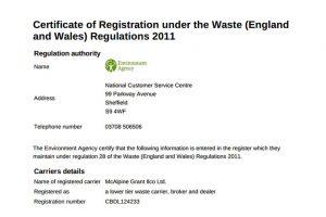 certificate of registration under the waste regulations