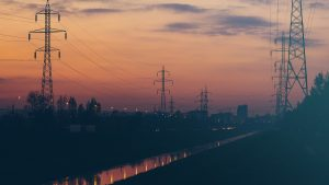 electric pilons at dusk